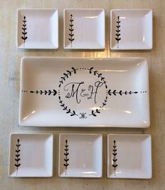 This is beautiful work. Custom hand painted ceramic serving set by Stefaluffagus on Etsy, $165.00