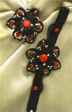 Free pattern schema for bracelet and pendant Black Flower | Beads Magic