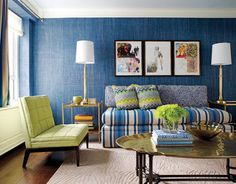 blue guest bedroom--raffia wall covering that looks like denim