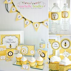 Bumble Bee Party Kit, EDITABLE pdf Files, Printable Party Kit, Yellow Party, Bumble Bee Baby Shower, Bumble Bee Banner, INSTANT DOWNLOAD