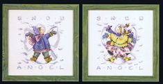 Two fun pictures of heavily dressed children making 'snow angels'.
