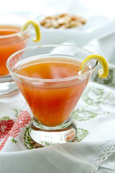 Blushing Lady cocktail; lemon vodka, pink grapefruit juice and pomegranate liqueur. YUM.