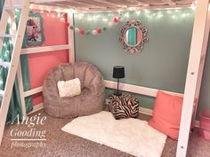 Our tween loft bed bedroom makeover sitting area reading nook coral teal gray