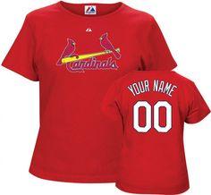 Ikes Baseball St. Louis Cardinals Womens Red Custom MLB Tee Shirt