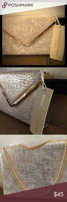 Madison West Faux Snakeskin Clutch Gorgeous Gold Clutch with Gold Colored link shoulder strap for cross body look Faux Snakeskin Madisom West Bags Crossbody Bags