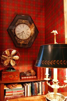 tartan wallpaper - perfect for a cozy den or library! Tartan Plaid, Tartan Decor, Tartan Wallpaper, Of Wallpaper, Wallpaper Ideas, Scottish Plaid, Scottish Tartans, Scottish Decor, Vintage Decor