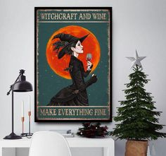 Witchcraft and wine make everything fine poster canvas Halloween Wall Decor, Halloween Gifts, Canvas Wall Decor, Canvas Art, Wine Making, I Am Scared, Little Miss, Witchcraft, Everything