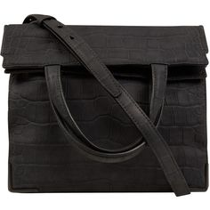 Alexander Wang Dark Grey Prisma Skeletal Lunch Croc Embossed Leather Bag