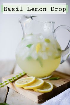 #TGIF , a Basil Lemon Drop to kick start your weekend, cheers! // Nap-TimeCreations.com - #LemonDrop