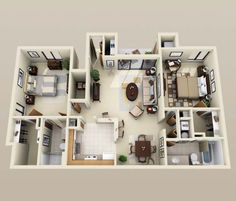 Simple House Floor Plans 3d thoughtskoto: 50 3d floor plans, lay-out designs for 2 bedroom