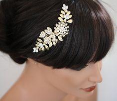 Gold Hochzeit Haar Stück Bridal Haar Kamm Vintage von LuluSplendor, $95.00 - etsy.com