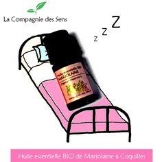 Problème d'insomnie ? Besoin d'une solution rapide ? L'huile essentielle de Marjolaine à Coquilles sera votre nouvelle berçeuse ! :) A goutte suffit à mettre en massage sur le plexus solaire !