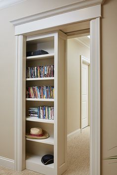 Bookcase Door, Secret Door Bookshelf, Hidden Rooms, Secret Rooms, Pocket Doors, Built Ins, Home Projects, Home Goods, House Plans