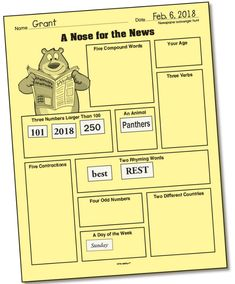 This scavenger hunt worksheet has endless possibilities! Students can use discarded magazines or papers to complete copies of the programmed page. Or you can program your own version and use the page however you like! English Language, Language Arts, Compound Words, Rhyming Words, Worksheets, Magazines, Students, Learning, School