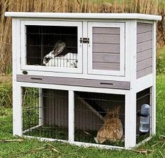 The Trixie Natura Rabbit Hutch with a sloped roof and 2-story hutch has a retreat area on the upper level and a grassy outdoor play area below. Non-slip ramp allows your pets to roam inside and outsid