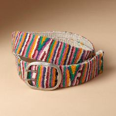 """Magical, indeed, our summer bright wool belt, hand embroidered by artisans in Peru, transforming everything you wear it with. Exclusive. Sizes S (32""""), M (34""""), L (36""""). 2""""W."""