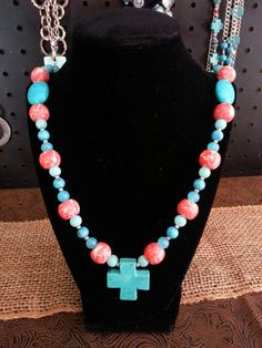 Turquoise & Coral Chunky Cross Necklace on Etsy, $30.00