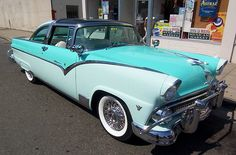 My favorite classic car of all time ; 1955 Ford Fairlane Crown Victoria -- notice the plexiglass front roof!