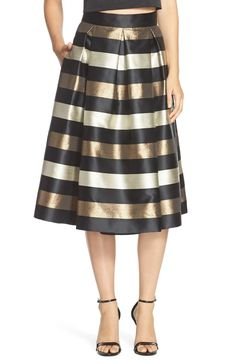 metallic stripe jacquard skirt