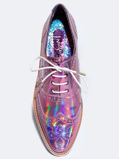 """- Brand: Irregular Choice - Style: Oxfords - Color: Pink - Material: Leather upper - Heel Height: 1 1/8"""""""