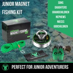 Imagine if you could your kids off their phones, out of the house and into the fresh air and great outdoors! This is the perfect way to do it. Our magnet fishing kit, designed especially for kids aged 8-14 has everything they need to get started - a strong (but not too strong) premium neodymium magnet, rope and carabiner, safety gloves, a waterproof back pack, all in a cool box. Be the favourite mom, dad, auntie, uncle or grandparent ;-) Magnet Fishing, Fishing Kit, Safety Gloves, Godchild, Neodymium Magnets, Grandparent, King Kong, Auntie, Phones