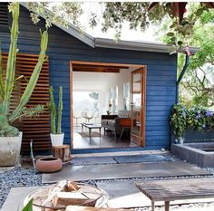 simple navy blue exterior with cactus accents for contrast