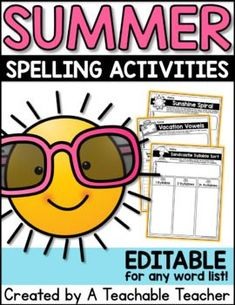 New and engaging ways for your students to practice their spelling words or vocabulary. These summer spelling activities are editable and can be used with any word list!