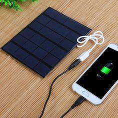 3.5W 6V Solar Panel Mobile Phone Power Bank USB Charger Outdoor Camping Necessary (PURPLISH BLUE) | Sammydress.com