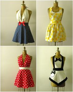 "Cute Aprons - I love love love these. Just complaining I needed a ""cool"" apron ФАРТУШКИ Sewing Aprons, Sewing Clothes, Couture Main, Cool Aprons, Diy Vetement, Apron Designs, Aprons Vintage, Diy Clothing, Diy Fashion"