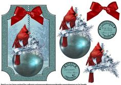 Red Cardinal On Icy Bauble on Craftsuprint designed by June Harrop - Lovely shaped card front which can be placed onto a card blank as is or can be cut to the shape.Simple to make but very effective. - Now available for download!