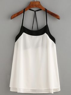 White Contrast Strappy Back Cami Top Dress Outfits, Casual Outfits, Cute Outfits, Fashion Outfits, Fashion Trends, Dresses, Womens Fashion, Top Chic, Essentiels Mode