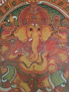 Ganapathy  mural painting Parkkadi devi temple,kunnamkulam Mural Art, Murals, Wall Art, Kerala Mural Painting, Art Desk, Indian Gods, Indian Paintings, Gods And Goddesses, Mythology