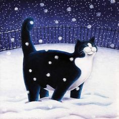 """""""Happy Cat In Snow"""" - Greeting card by Scottish Artist Vicky Mount. Happy Cat In Snow. This blank artist card is published by Art Cove Cards and suitable for Christmas."""