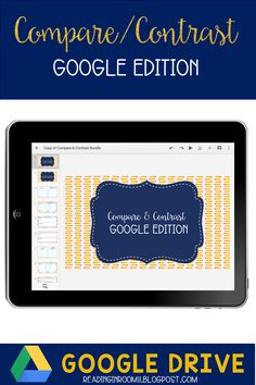 This is a great resource for students and teachers working on the concept of compare and contrast. This can be used in Google Classroom, Google Drive and Google Slides. Compare and Contrast: Google Edition has 17 editable slides and is broken down into 3 sections - Fiction vs Nonfiction, Characters and Blank Templates that can be used for any type of compare contrast topic. Each section includes venn diagrams, a compare/contrast organizer, some comprehension questions, and a space for a…