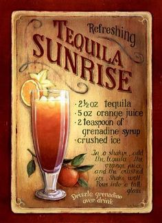 Vintage Style Retro Metal Plaque : Tequila Sunrise Cocktail Ad Sign #ebay #Home & Garden