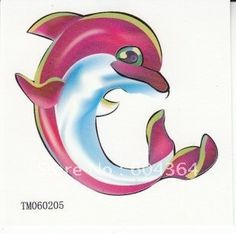 G-ART : TM060205/ water and sweat proof rub-on transfer tatoo stickers/colour tatoo sticker dolphin. Type:Temporary Tattoo. ::. Model Number:TM060205. Unit Type:lot (10 pieces/lot).