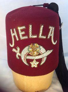 Vintage Masonic Shriners Jeweled Fez Hella Ceremonial Hat W/ Cork Hat Stand