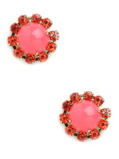 you're into the ladified look, by way of the Upper East Side, then you'll love these striking statement earrings. They feature massive cabochon gems, in vibrant pink, and each comes framed in more glittering finery. Hair Jewelry, Jewelry Box, Jewelry Accessories, Fashion Accessories, Jewellery, Jewelry Making, Fashion Necklace, Fashion Jewelry, Statement Earrings