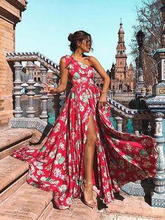 Bohemia Floral One-Shoulder Split Maxi Dress. ) c5f26d35f3b9