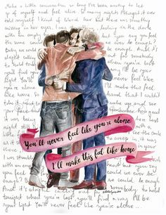 Watercolor illustration of One Direction with Home by WaterLyrics