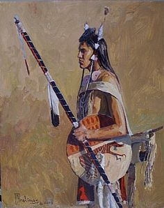 Crow Warrior - Bear Sheild Veteran by Joseph Trakimas Oil ~  #native American Art
