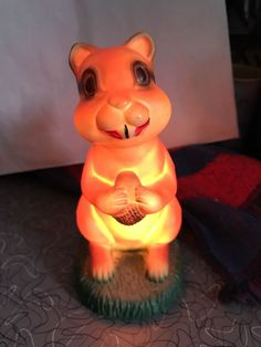 Rare HTF Vintage Squirrel Lamp Bank Chipmunk Advertising