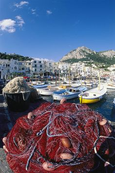✭ Fishing boats and nets in the Marina Grande - Bay of Naples, Italy - Cool Pic!