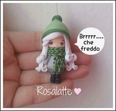 Pendant doll winter in polymer clay (Fimo)