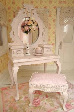 Use end table, mirror and tiny stool-Shabby Chic
