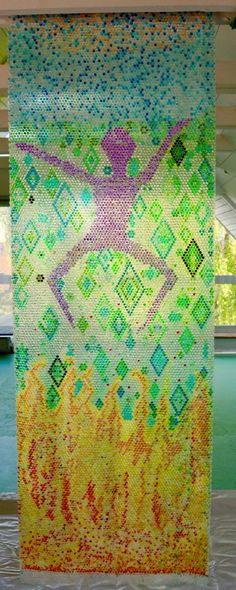 Bubblewrap and watercolour by aastrom.dk #bubblewrap #bubblewrapart #artinstallation #installationart