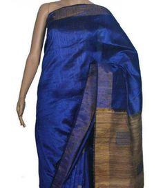 Blue Bhagalpur Handloom Silk Saree
