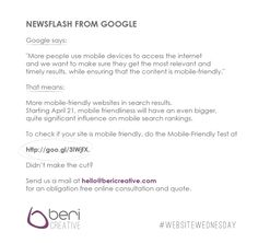 Got your own website? Then this Google Newsflash is for you! #WebsiteWednesday #google #algorithm www.bericreative.com