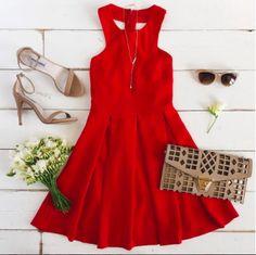 cut out clutch + red dress