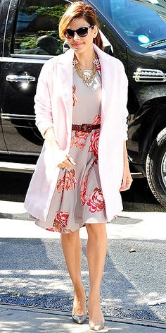 EVA MENDES Bummed you can't afford Kim's coat? Eva has one just like it and it costs 160 bucks! The topper's from her New York & Company line, as is her pretty floral dress. (Now do you believe us that light shades are fall-friendly?)